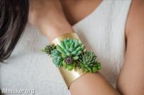 黄铜和多肉植物组成的饰品首饰